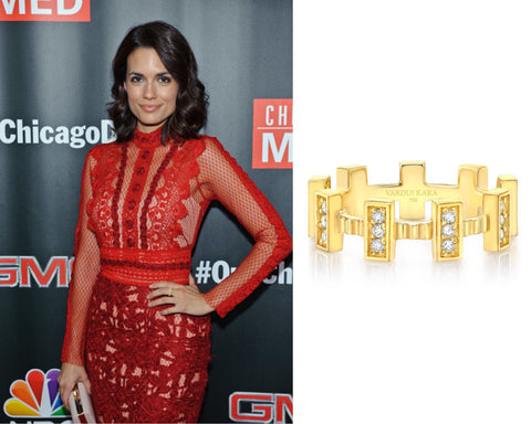 Torrey Devitto One Chicago Vardui Kara Fortress II Diamond Ring 18K Yellow Gold