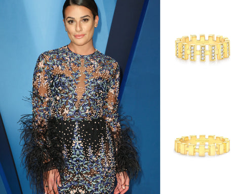 Lea Michele CMA 2017 Vardui Kara Merlon Diamond Rings 18K Gold