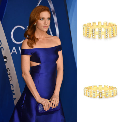 Brittany Snow CMA 2017 Vardui Kara Merlon Diamond Ring 18K Yellow Gold