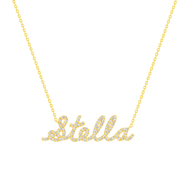 diamond name necklace 14 karat gold