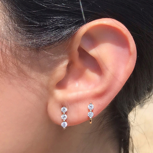 triple diamond stud earring vardui kara