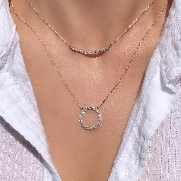 gold diamond crescent necklace