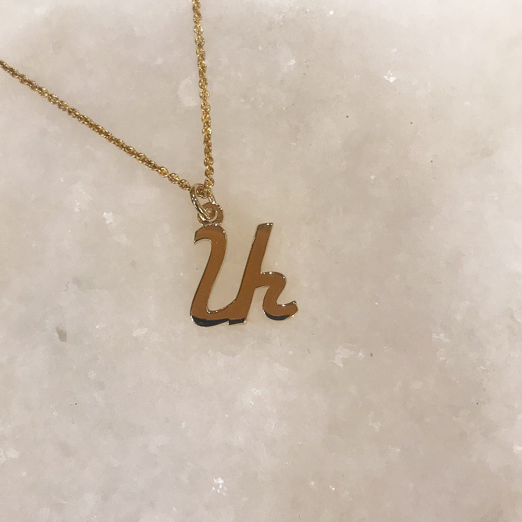 gold armenian initial necklace