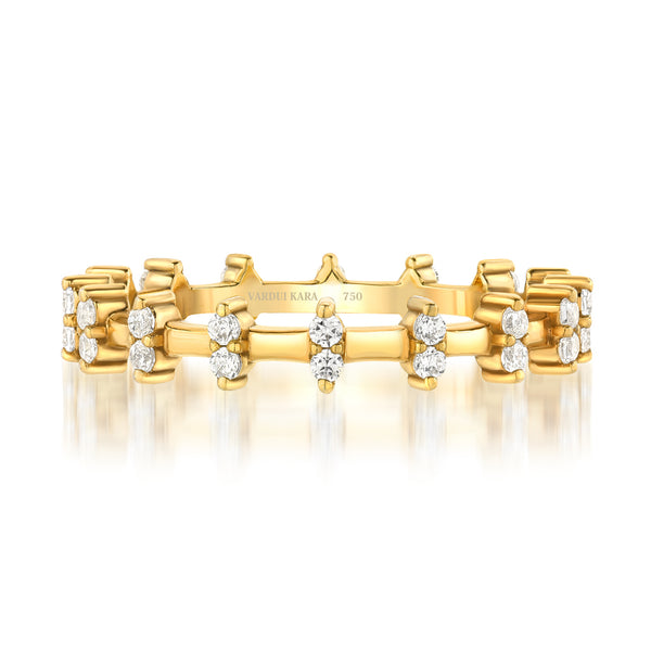 Mini Merlon Diamond Ring 18K Yellow Gold