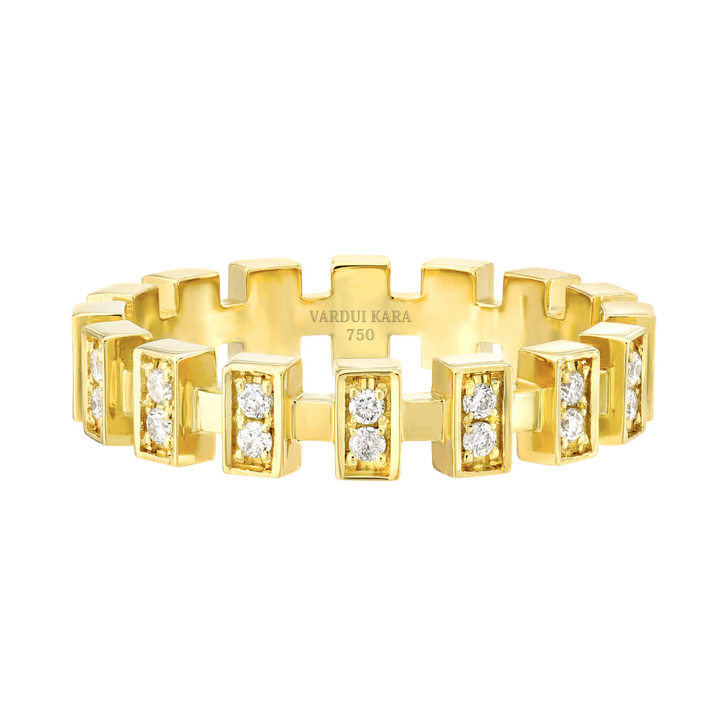 Merlon Petite Diamond Ring 18K Yellow Gold