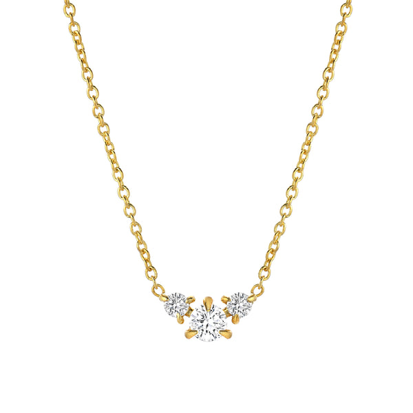 three diamond pendant necklace