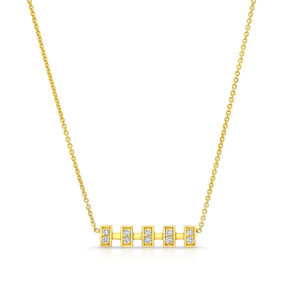 Merlon Diamond Gold Bar Necklace