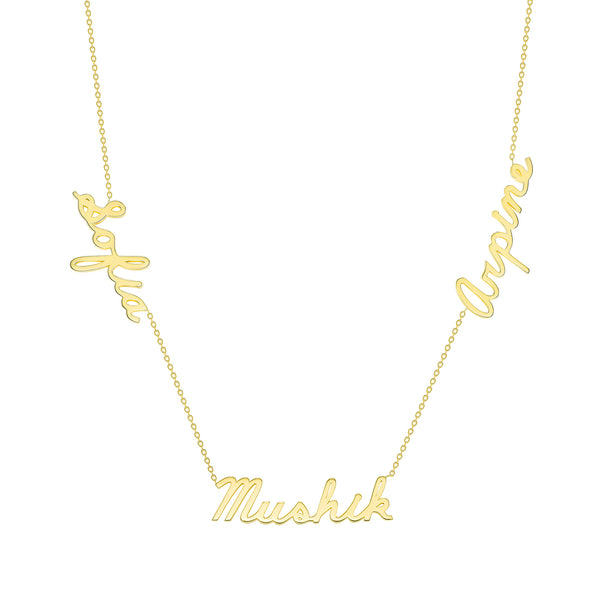 multiple name necklace 14 karat gold personalized name necklace