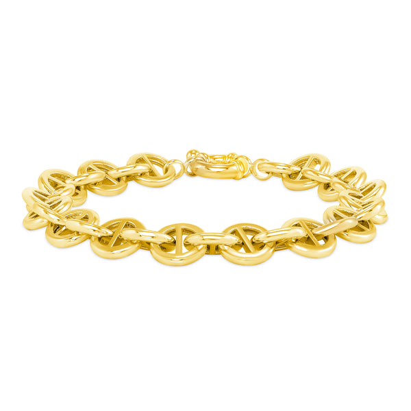 this is addictive (daniel cohen) and vardui kara round pill link bracelet in 18 karat yellow gold plated sterling silver