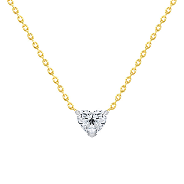 heart shaped diamond necklace 0.30 carats 14 karat gold
