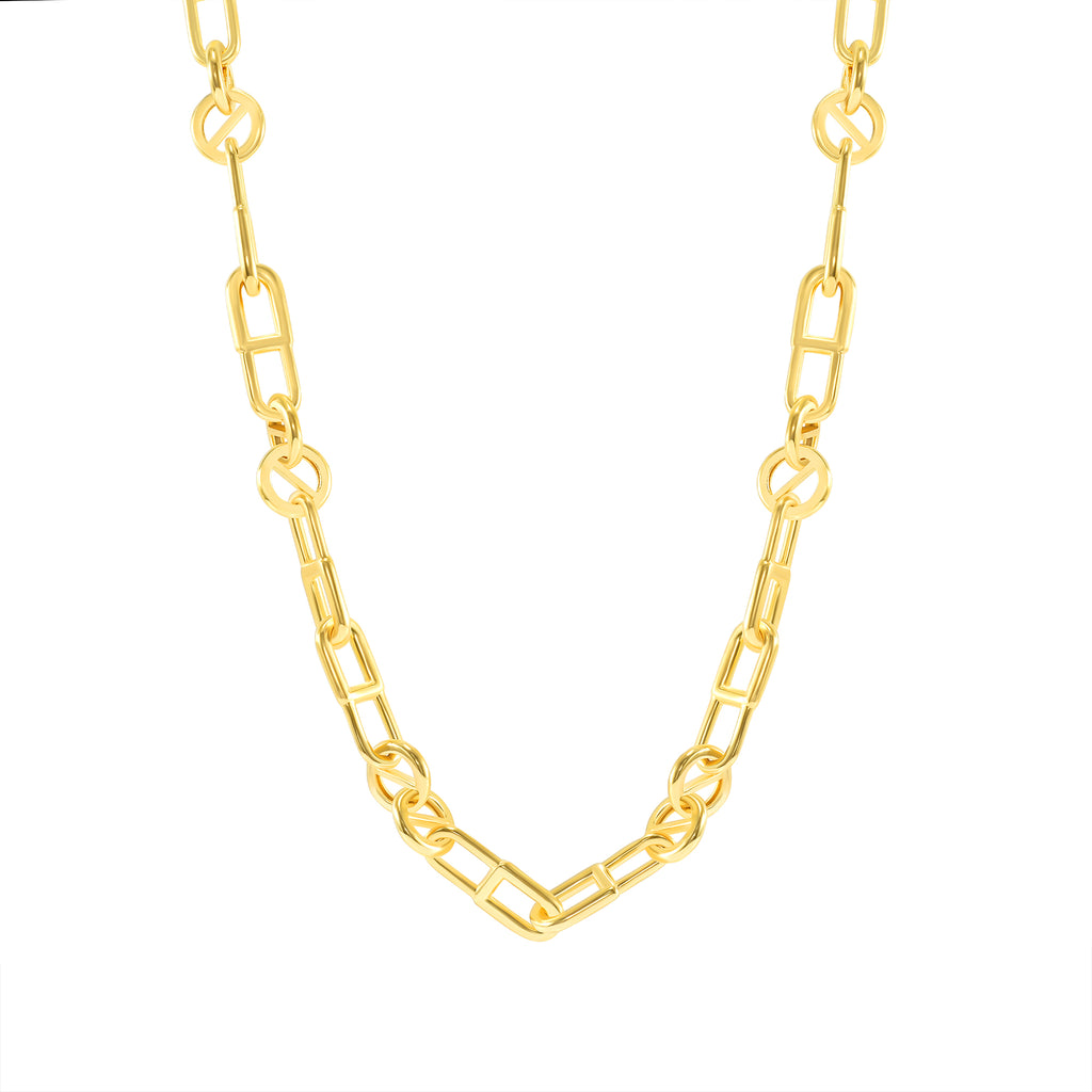 gold polished pink link chain necklace this is addictive daniel allen cohen x vardui kara collaboration