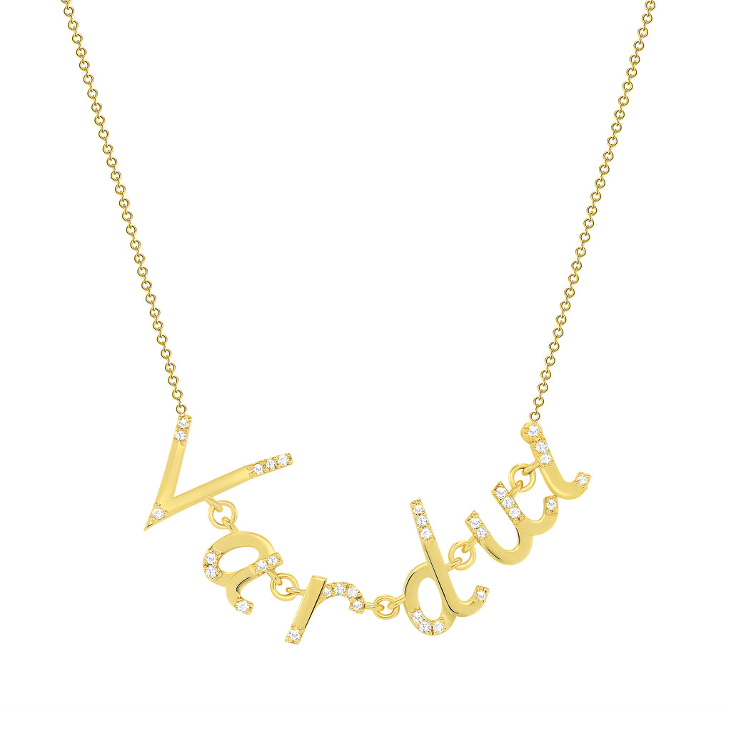 Personalized Linked Gold Letters Necklace