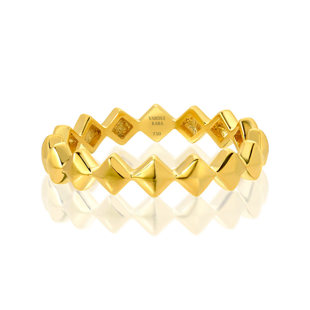 victorious petite diamond shaped tattoo ring 18k yellow gold