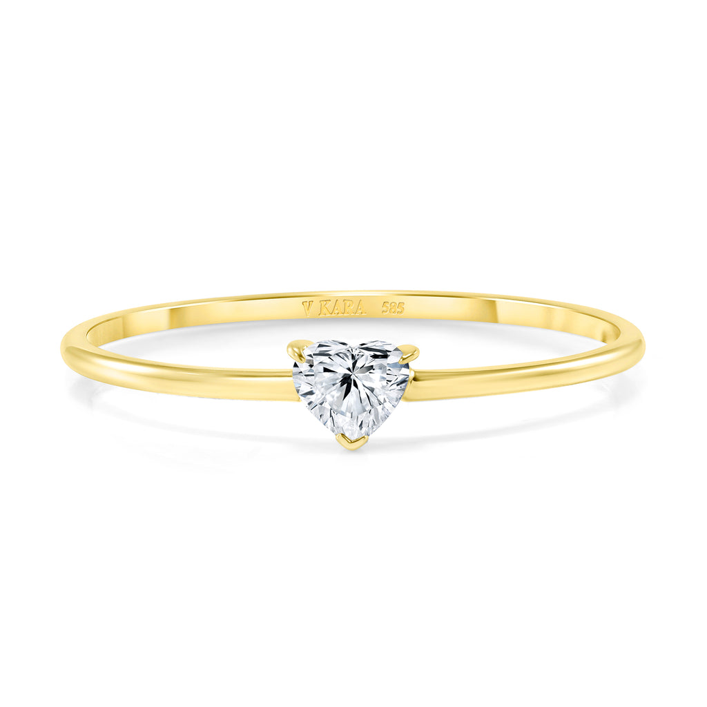 heart-shaped diamond stacking ring 14 karat gold vardui kara