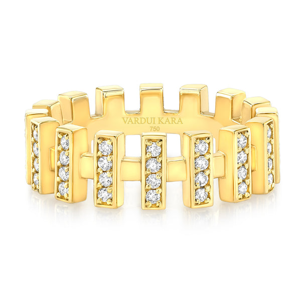 Merlon Diamond Bar Ring 18K Yellow Gold