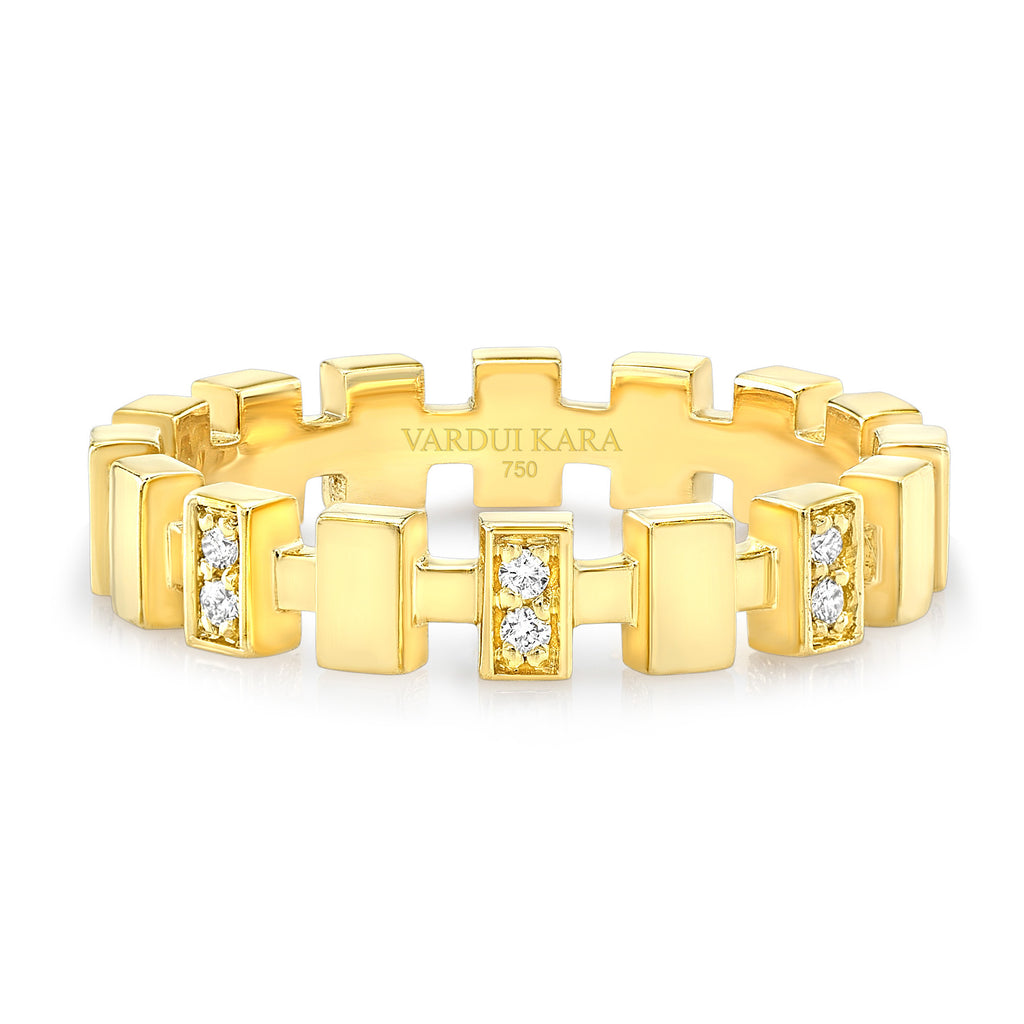 Merlon Petite Ring with Diamonds 18K Yellow Gold
