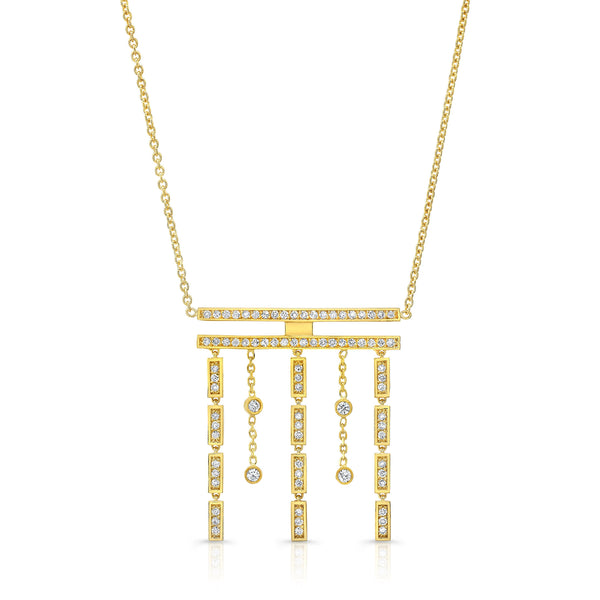 Merlon Diamond 18K Yellow Gold Rain Necklace