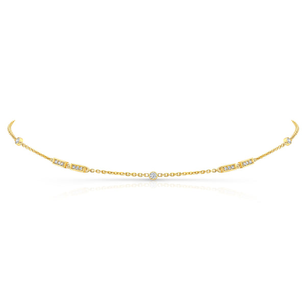 Merlon Diamond Choker Necklace 18K Yellow Gold