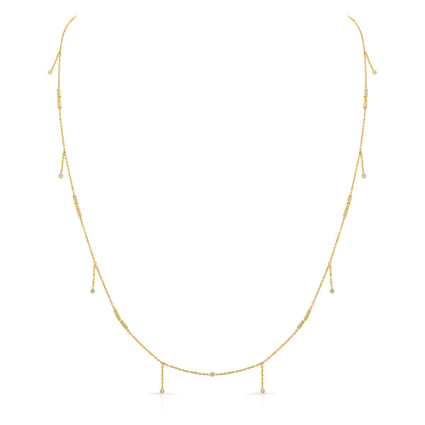 Merlon Diamond Shaker Necklace Long 18K Yellow Gold