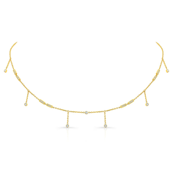Merlon Diamond Shaker Choker 18K Yellow Gold