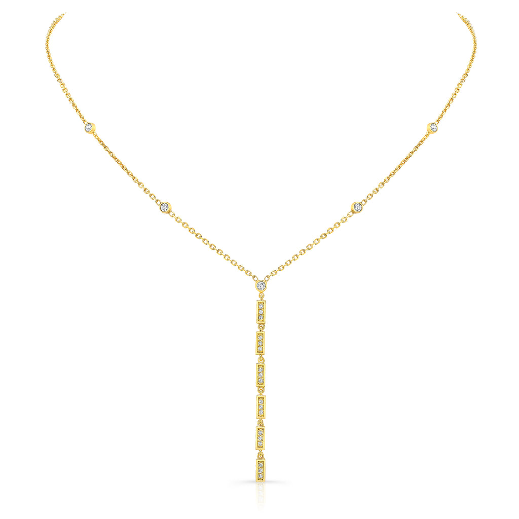 Merlon Dangle Diamond Vertical Bar Necklace 18K Yellow Gold