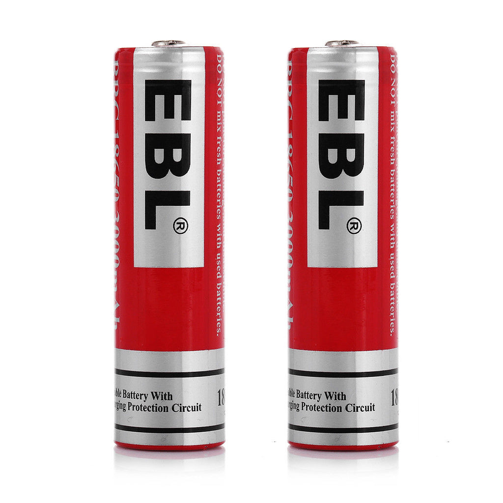 2 Rechargeable Batteries EBL - 18650 Lithium-Ion Rechargeable Batteries 3000mAh 3.7V, 2 Pack - Recommended for Tendlite®