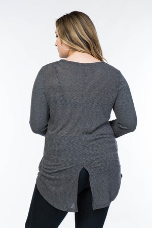 Ribbed Tunic w/ Split Back in Plus