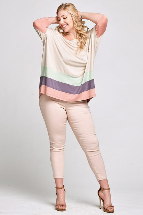 Sweet Summertime Oversized Knit Color-Block Top