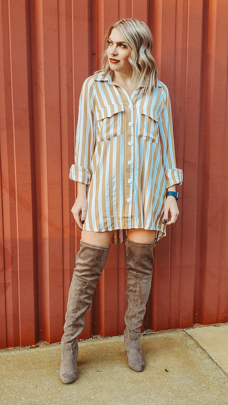 Mustard Stripe Tunic Button Up