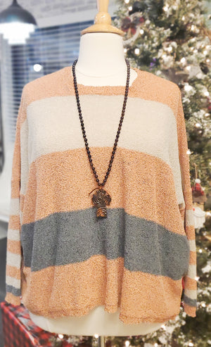 Rust and Navy Striped Sweater