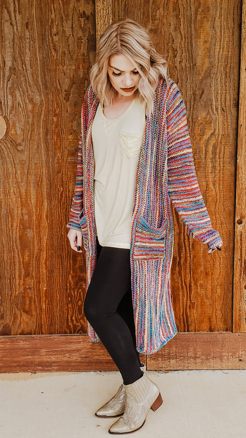 Boho Stripes Knit Cardigan