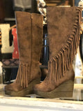 Griffin Fringe Tall Boot in Tan