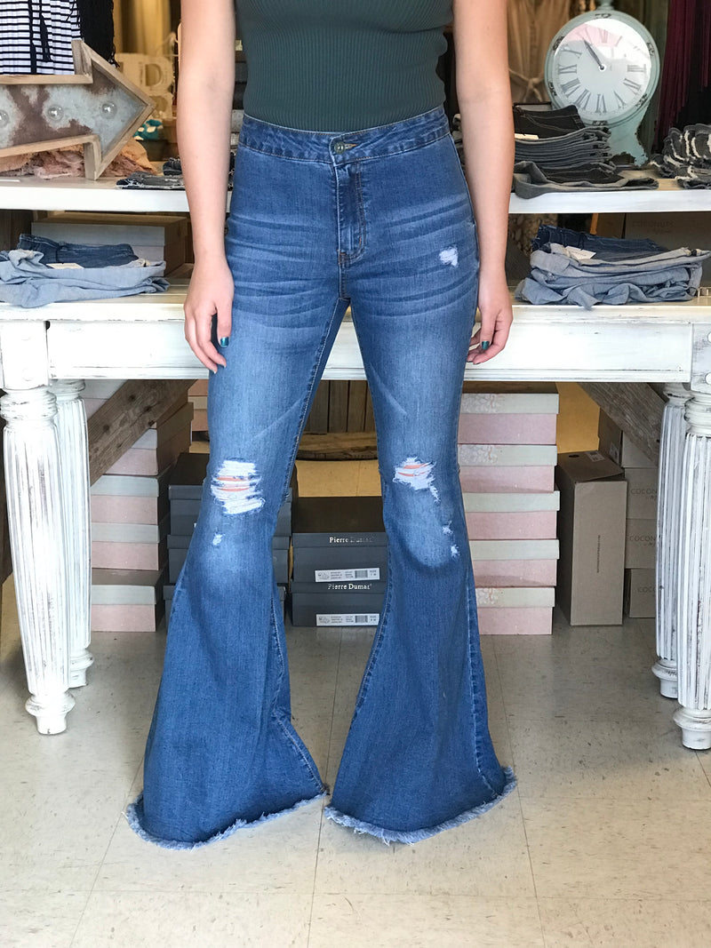 Medium Wash Distressed Bell Bottoms