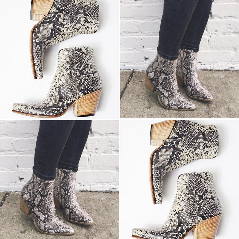 """Tried & True"" Snakeskin Bootie"