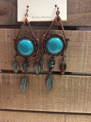 Teal little feather dangling earrings