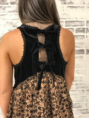 Velvet Lace Babydoll with Back Bows