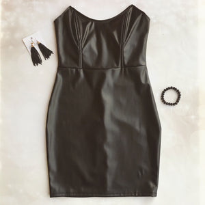 Faux Leather Strapless Dress