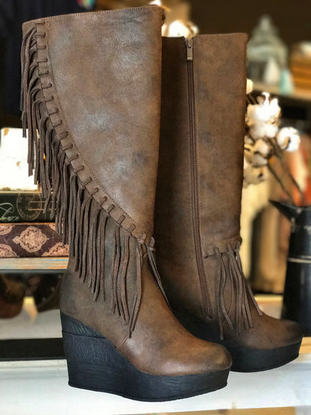 Griffin Fringe Tall Boot in Brown