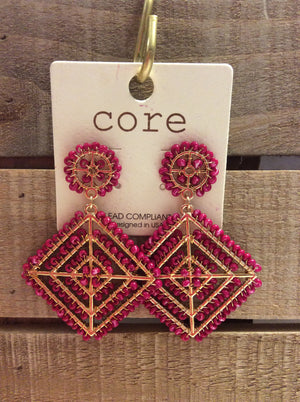 Hot pink/gold square dangling earrings