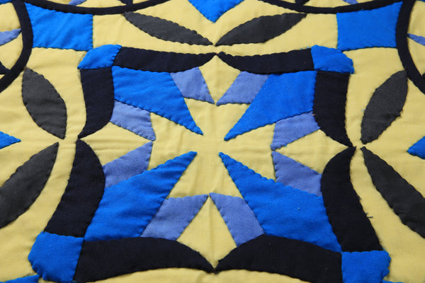 Blue and Black Lotus flower with intersecting lines-D