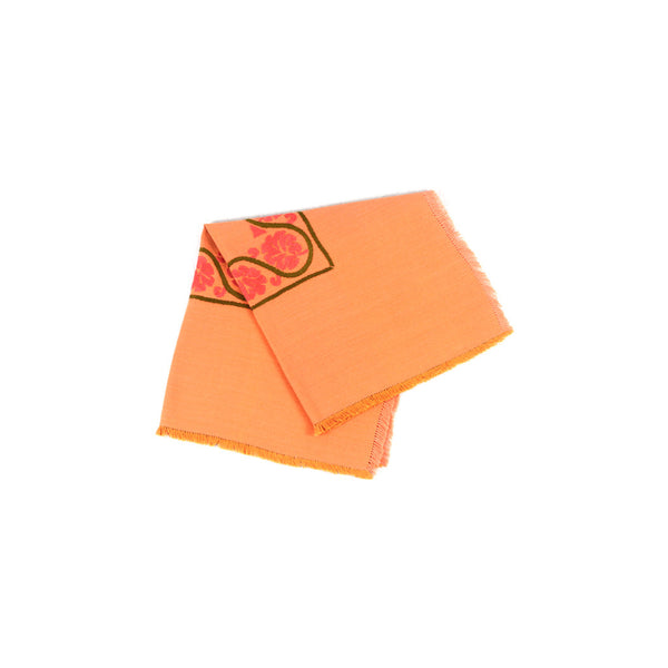 Orange with Pink Flowers Coffee Table Cover-D