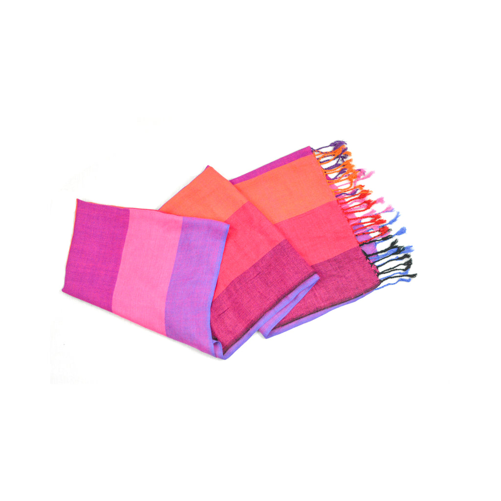 Pink and Purple large Stripes Scarf-D