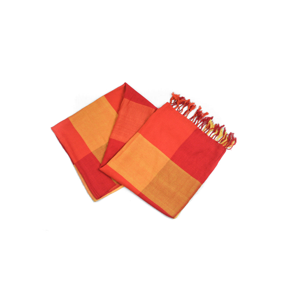 Yellow and Red Squares Scarf-D