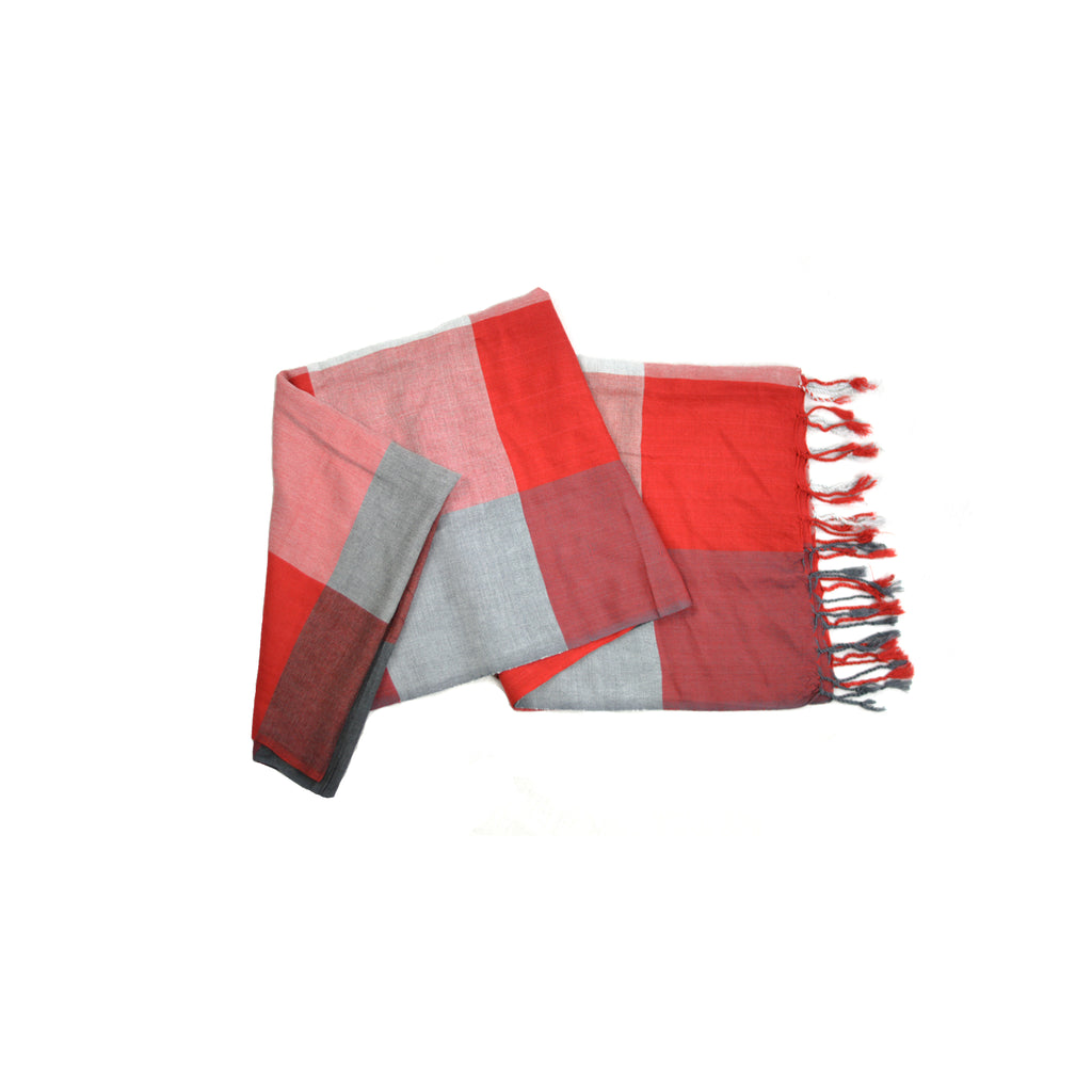 Red and Gray Squares Scarf-D