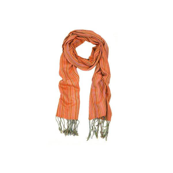 Dark Red Small Stripes Scarf-D