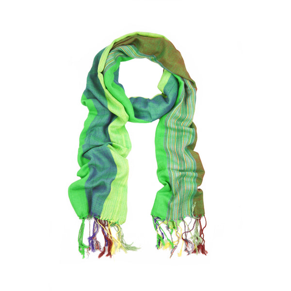Green Shades Small Stripes Scarf