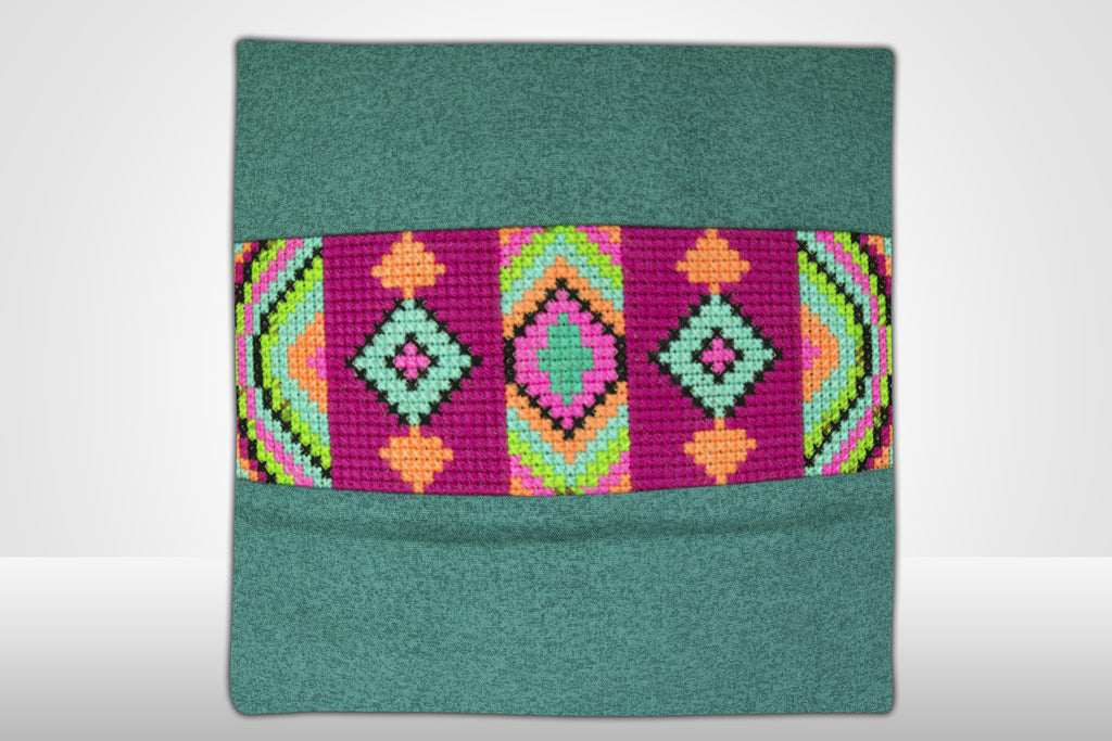 Green Embroidered Pillow-D