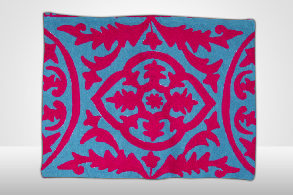 Pink & Blue Embroidered Pillow