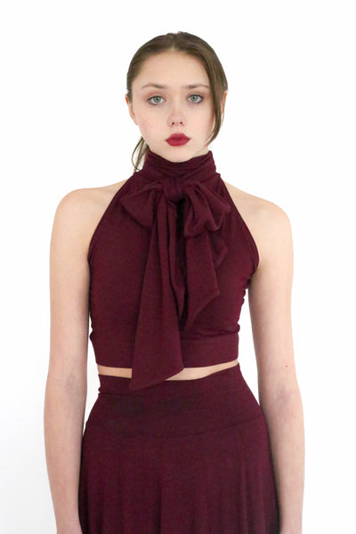Nia cropped halter tank top with built in oversized tie collar
