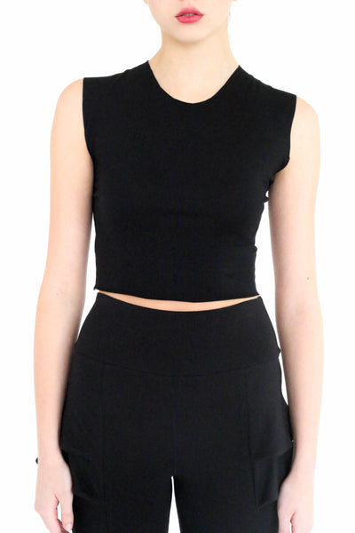 Lex basic raw edge crop tank